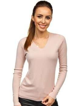 Růžový dámský svetr s výstřihem do V Bolf CB95094C