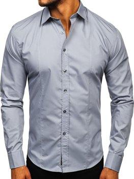 Šedá pánská elegantní košile s dlouhým rukávem Bolf 4705G