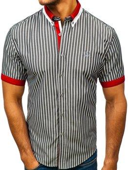 Šedá pánská elegantní kostkovaná košile s krátkým rukávem Bolf 4501