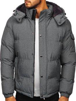 Šedá pánská prošívaná zimní bunda Bolf 1166