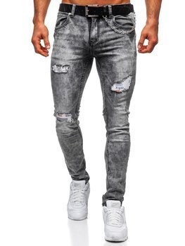 Šedé pánské džíny regular fit s paskem Bolf 6038S0