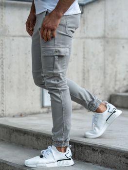 Šedé pánské jogger kalhoty Bolf 2039