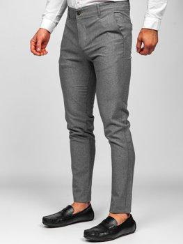 Šedé pánské textilní chino kalhoty Bolf 0016