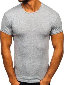 Šedé pánské tričko bez potisku Bolf 0001