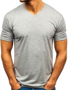 Šedé pánské tričko bez potisku s výstřihem do V Bolf 172010-A