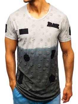 Šedé pánské tričko s potiskem Bolf 318