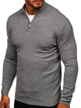 ?edy pánsky svetr na zip s vysokym límcem Bolf YY08