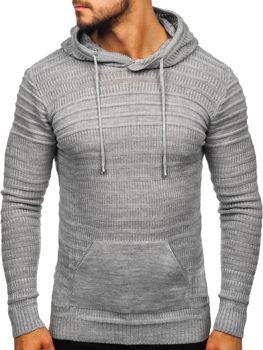 Šedý pánský svetr s kapucí Bolf 7003