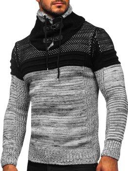 Šedý silný pánský svetr s vysokým límcem Bolf 2058