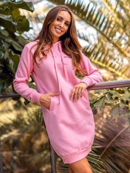 Světle růžová dámská dlouhá mikina s kapucí Bolf YS10005