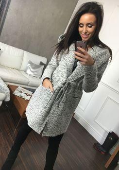 Světle šedý dámský kabát Bolf 6219