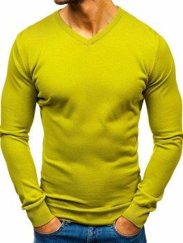Světlé zelený pánský svetr s výstřihem do V Bolf 2200