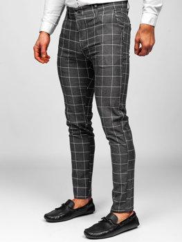 Tmavě grafitové pánské textilní karované chino kalhoty Bolf 0002