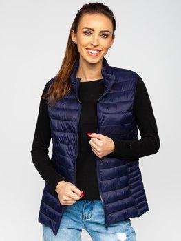 Tmavě modrá dámská prošívaná vesta Bolf 23038