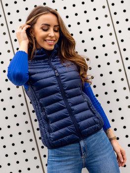 Tmavě modrá dámská pro?ívaná vesta Bolf B2705