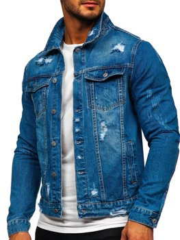 Tmavě modrá pánská džínová bunda Bolf AK588