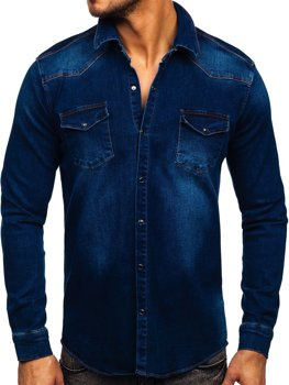 Tmavě modrá pánská džínová košile s dlouhým rukávem Bolf R700