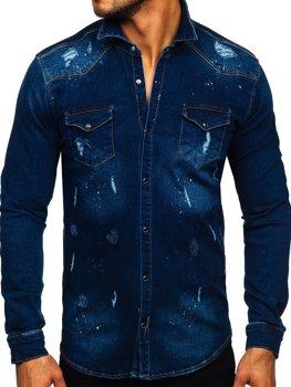 Tmavě modrá pánská džínová košile s dlouhým rukávem Bolf R801
