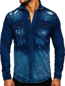 Tmavě modrá pánská džínová košile s dlouhým rukávem Bolf R802