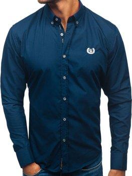 Tmavě modrá pánská elegantní košile s dlouhým rukávem Bolf 2772
