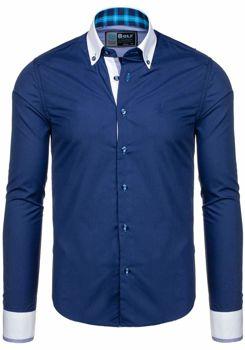 Tmavě modrá pánská elegantní košile s dlouhým rukávem Bolf 5766