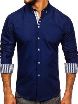 Tmavě modrá pánská elegantní košile s dlouhým rukávem Bolf 5796