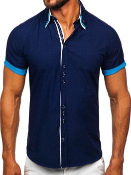 Tmavě modrá pánská elegantní košile s krátkým rukávem Bolf 2926