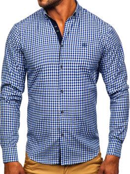 Tmavě modrá pánská kostkovaná košile s dlouhým rukávem Bolf 4712