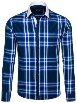 Tmavě modrá pánská kostkovaná košile s dlouhým rukávem Bolf 6960