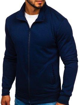 Tmavě modrá pánská mikina na zip bez kapuce Bolf B002