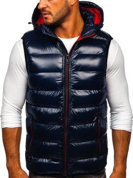 Tmavě modrá pánská prošíváná vesta s kapucí Bolf 6506