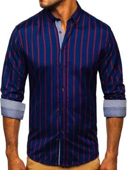 Tmavě modrá pánská pruhovaná košile s dlouhým rukávem Bolf 20705