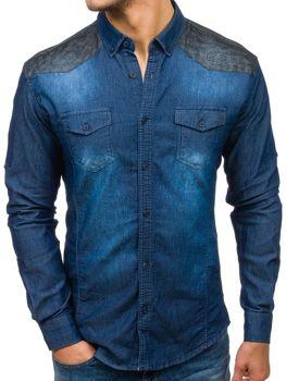 Tmavě modrá pánská vzorovaná džínová košile s dlouhým rukávem Bolf 0517-1
