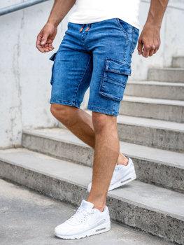 Tmavě modré pánské džínové kapsáčové kraťasy Bolf HY907
