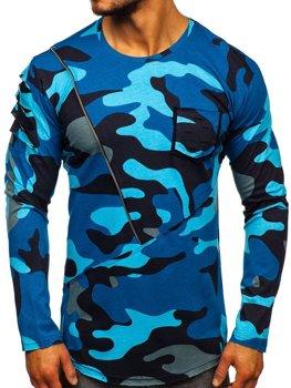 Tmavě modré pánské maskáčové tričko s dlouhým rukávem a potiskem Bolf 1090