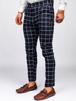 Tmavě modré pánské textilní karované chino kalhoty Bolf 0002