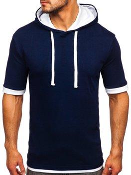 Tmavě modré pánské tričko bez potisku Bolf 08
