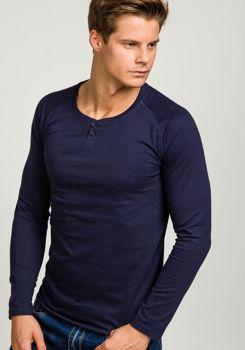 Tmavě modré pánské tričko s dlouhým rukávem bez potisku Bolf 5547