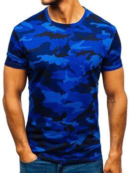 Tmavě modrné pánské maskáčové tričko s potiskem Bolf S807