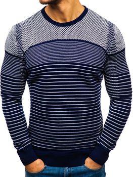 Tmavě modro-bílý pánský svetr Bolf 1015