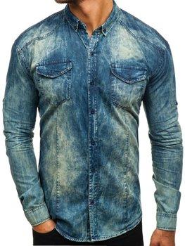 Tmavě modro-šedá pánská džínová košile s dlouhým rukávem Bolf 0895