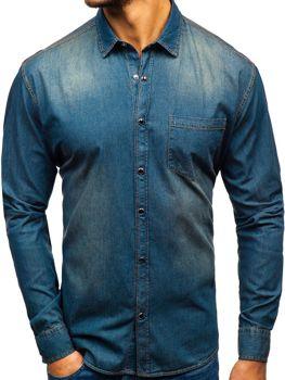 Tmavě modro-šedá pánská džínová košile s dlouhým rukávem Bolf 1316