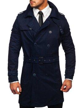 Tmavě modrý pánský dvouřadý kabát s vysokým límcem a páskem Bolf 5569