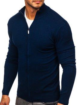 Tmavě modrý pánský svetr na zip Bolf YY07