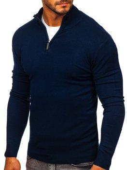 Tmavě modrý pánský svetr na zip s vysokým límcem Bolf YY08