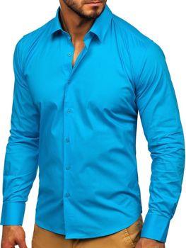 Tyrkysová pánská elegantní košile s dlouhým rukávem Bolf TS50