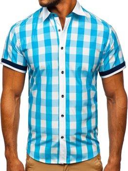 Tyrkysová pánská elegantní kostkovaná košile s krátkým rukávem Bolf 8901