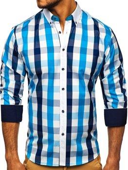 Tyrkysová pánská kostkovaná košile s dlouhým rukávem Bolf 9718