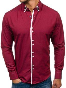 99b4c29609d1 Vínová pánská elegantní košile s dlouhým rukávem Bolf 1721-A