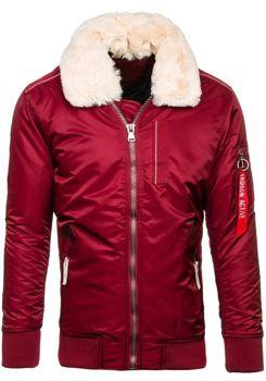 Vínová pánská zimní bunda Bolf 3170